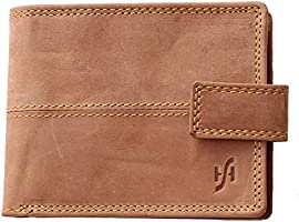 StarHide RFID Blocking Wallet For Men | Genuine Distressed Hunter Leather | Large Zip Around Coin Pocket Purse | Designed For Photo Id, Credit Cards, Banknotes - 1044 (Brown)
