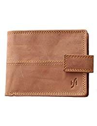 StarHide RFID Blocking Wallet For Men   Genuine Distressed Hunter Leather   Large Zip Around Coin Pocket Purse   Designed For Photo Id, Credit Cards, Banknotes - 1044 (Brown)