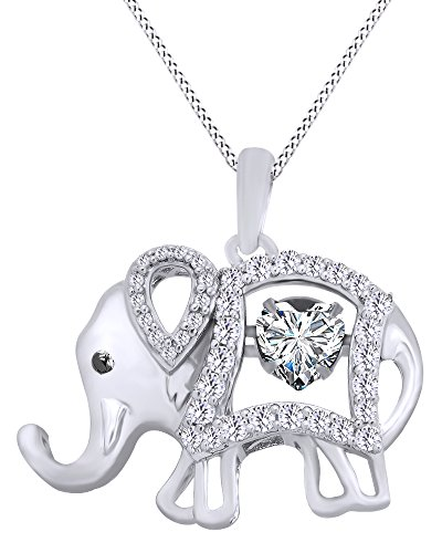 Elephant Cubic Zirconia - AFFY Round Cut Cubic Zirconia Elephant Floater Pendant Necklace in 14K White Gold Over Sterling Silver