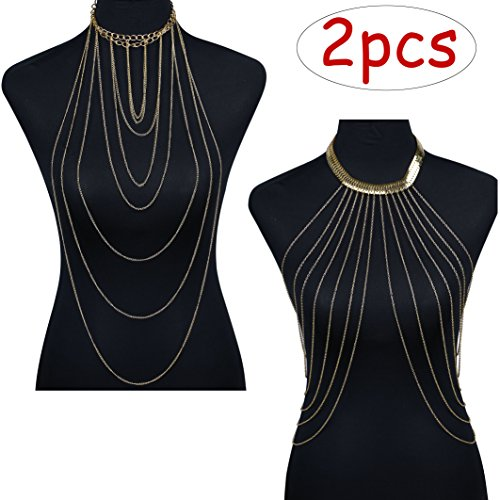 - Jstyle Sexy Gold Tone Body Chain for Women Bikini Belly Chain Tassel Crossover Necklace Adjustable Body Jewelry