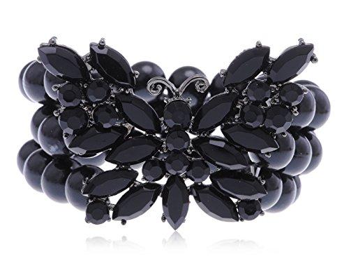 Alilang Fun Jet Black Crystal Rhinestone Bead Acrylic Butterfly Fashion Stretch Bracelet
