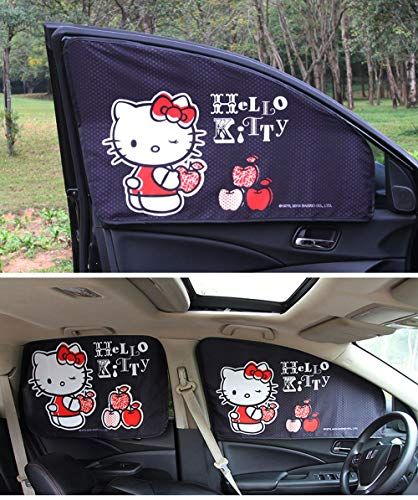 Hello Kitty Car Sunshade - Carmen Magnetic Car Sun Visor Window Curtains Screen Auto Windshield Sunshades Heat Shield Shade Block Universal Fit for Baby Kids Women Men UV Rays Protector - 4 pcs/Set (Black)