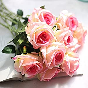 Wffo Artificial Flowers, 10 Head Latex Touch Rose Flowers for Wedding Party Home Design Bouquet Decor 104