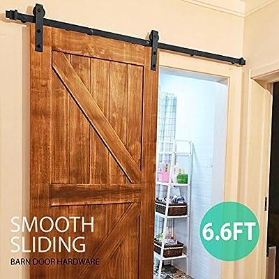 topeakmart 6.6 ft país moderno interior puerta corrediza de granero madera sistema de pista de Hardware Kit Set: Amazon.es: Bricolaje y herramientas