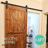 Topeakmart 6.6 Ft Modern Country Interior Sliding Barn Wood Door Hardware Track Kit System Set