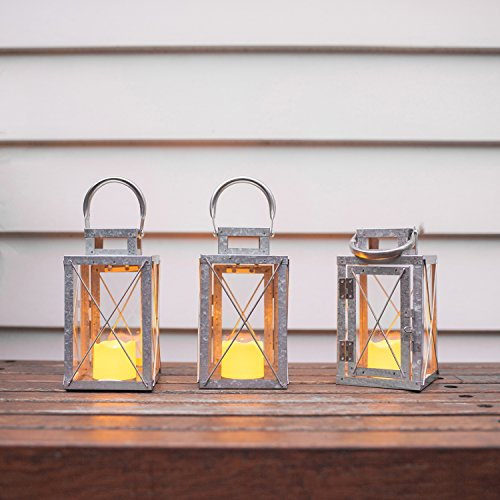 Set of 3 Galvanised Metal Battery Operated LED Fully Weatherproof Outdoor Garden & Patio Flameless Candle Lanterns