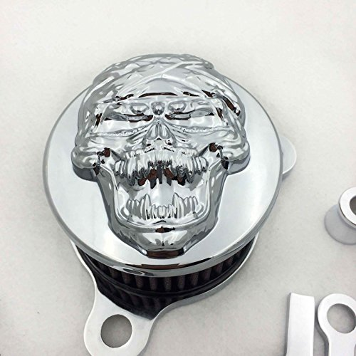 HTT Chrome Skull Zombie Air Cleaner Intake Filter System Kit For Harley Davidson Sportster XL883 XL1200 1988 to ()