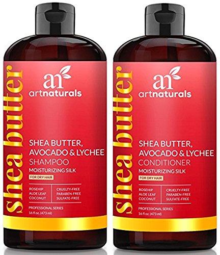 ArtNaturals Shea-Butter Shampoo and Conditioner Set - (2 x 16 Fl Oz) - Moisturizing Silk - For Dry Damaged Hair - Avocado, Lychee, Rosehip, Aloe Vera and Coconut - Sulfate-Free