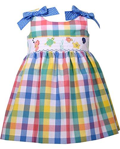 Jean Bonnie Sundress - Bonnie Jean Girls Smocked Sea Plaid Sundress 18 months