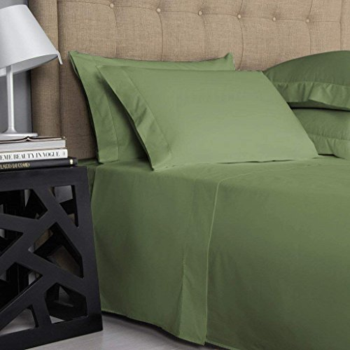 - 21 inches EXTRA DEEP POCKET - 1000 Thread Count Egyptian Cotton Sheet Set, 1000TC, California King, Solid Sage
