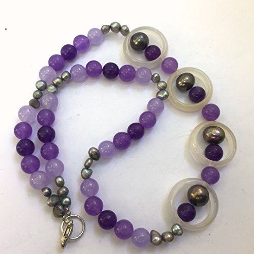 Asymmetrical purple silver necklace Natural stone jewelry Semi precious chalcedony jade pearls Princess length OOAK Artisan jewelry (Pearl Purple Jade Necklace)