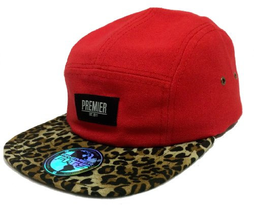 Premier Youth Panel - Premier Fits Woven Red & Leopard Print 5-Panel Strapback
