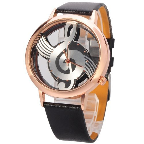 Mudder Novelty Musical Note Dial Quartz Movement Watch with PU Leather