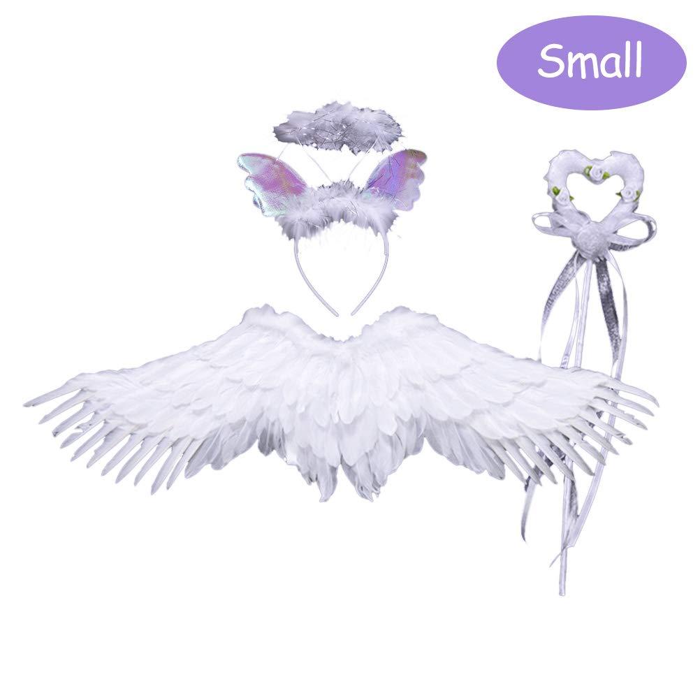 Suszian Conjunto de alas de ángel Blanco y halo de Plumas ...