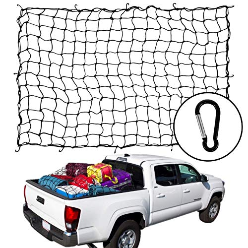 Houseables Bungee Net, Truck Bed Cover, 5mm Thick, 4' x 6', Elastic, Mesh Spider Netting, Heavy Duty, Pickup Accessories, Storage Organizer Tarp, Car Trunk, Trailer, Pick Up, Secret Santa, Christm