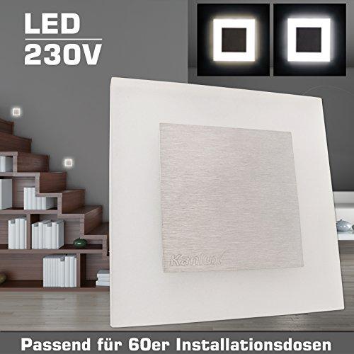 Wandeinbauleuchte ESCALA M1 Acrylglas/Edelstahl 230V LED ca. 1,3 Watt; IP20 Kaltweiß (6500k) Wandleuchte Treppenbeleuchtung Wandstrahler Treppenleuchte