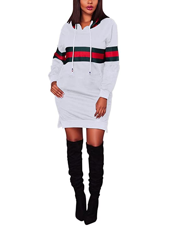 Akmipoem Hooded Sweatshirt Dresses Women Side Slit Pocket Long Sleeve Sweater Dresses