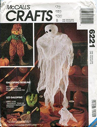 McCall's Crafts Pattern 6221 Halloween Package - Scarecrow Doll, Witch, Pumpkin and Ghosts]()