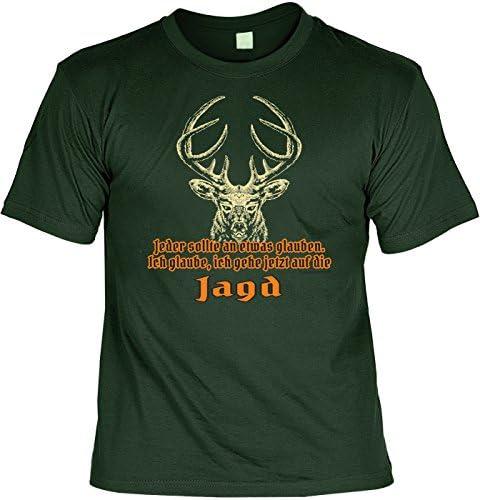 Jäger Sprüche T-Shirt Geschenk Set : Ich gehe jetzt auf die Jagd - Jäger Shirt + Minishirt Farbe: dunkelgrün
