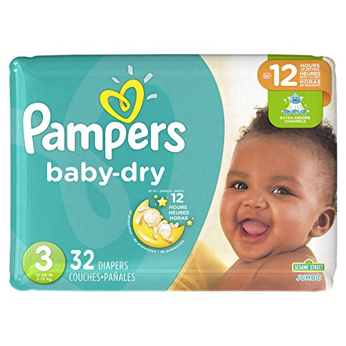 Diapers Size 3, 32 Count - Pampers Baby Dry Disposable Baby Diapers, Jumbo