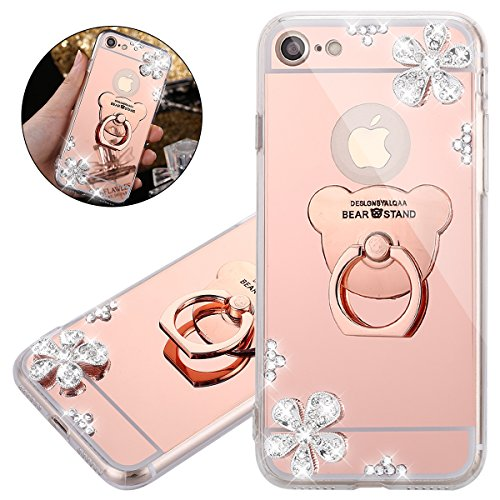 ISAKEN iPhone 7 iPhone 8 Case 360 Degree Rotating Ring Grip Case Mirror Deign Shockproof Protection Case with Bling Diamond Rhinestone Sparkly iPhone 7/8 Cover Anti-Slip Case