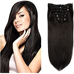 "Lovbite Hair Human Hair Clip in Hair Extensions Double Weft 16"" Grade 8A Unprocessed Remy Hair Wave 7Pieces/Lot 100g with 16Clips(16""-80g, Natural Black #1B)"