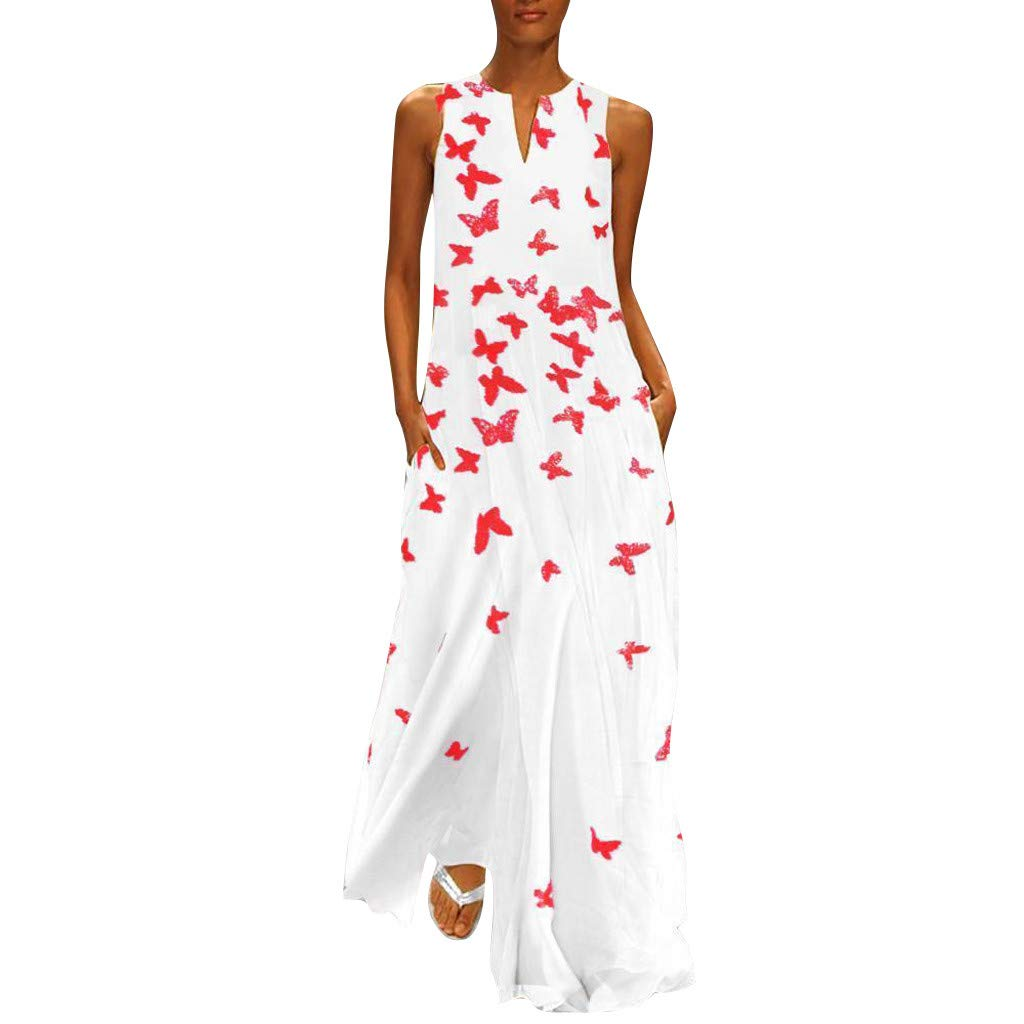 Women Vintage Sleeveless Long Maxi Dress Butterfly Print Dress Daily Casual Flowy Flounce Gown(White, 3XL) by REXINTE