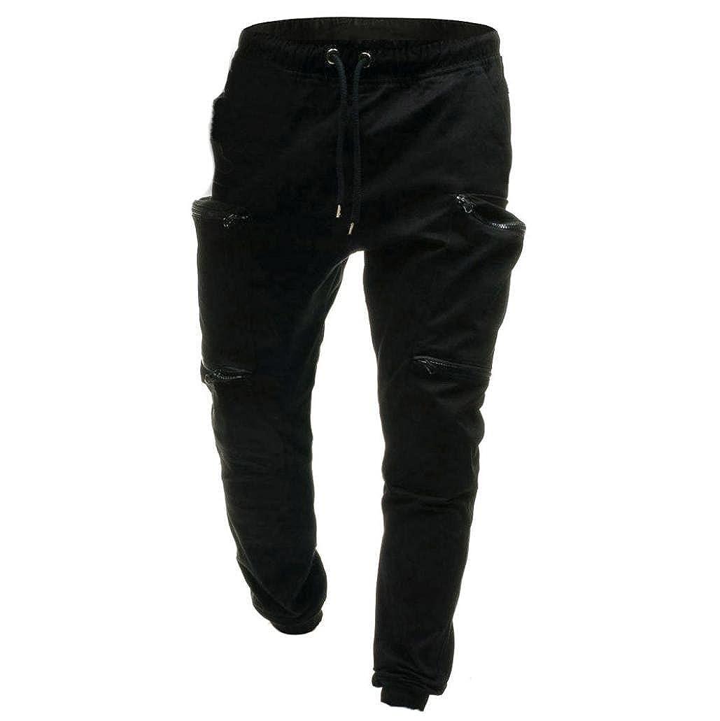 Pantalon de Jogging Classique /à Cordon Coulissant pour Hommes Pantalon de surv/êtement Sport /à glissi/ère Malloom