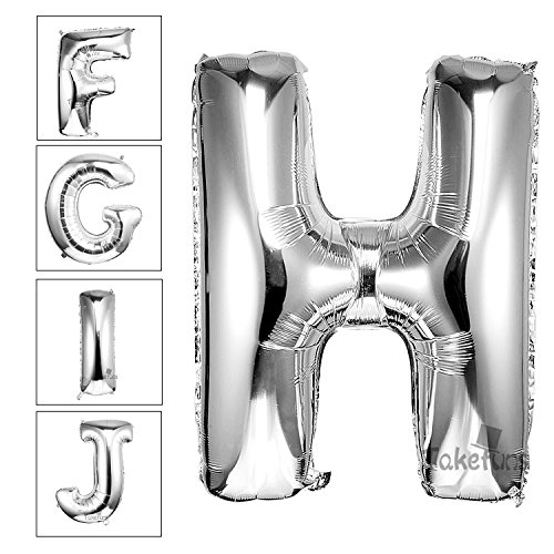 Takefuns 40 Inch Silver Alphabet H Balloon Birthday Party Decorations Helium Foil Mylar Letter (Party City Letter Balloons)