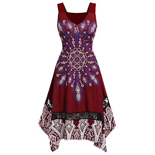Missroo Size Knee Length Printed Dress Red Wine