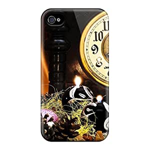 Tpu Fashionable Design New Year Clock And Champagne Rugged Case Cover For Iphone 4/4s New