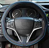 Rueesh Microfiber Leather Steering Wheel Cover, Anti-slip Matte Finish, Soft Padding, Universal 15 Inch Car Steering Cover, Embossing Pattern A, Black with Blue Line