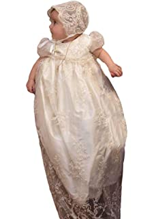 2d8246818 ShineGown Christening Dress with Bonnet for Baby Girls Short Bubble Sleeves  Princess Wedding Baptism Outfits Size