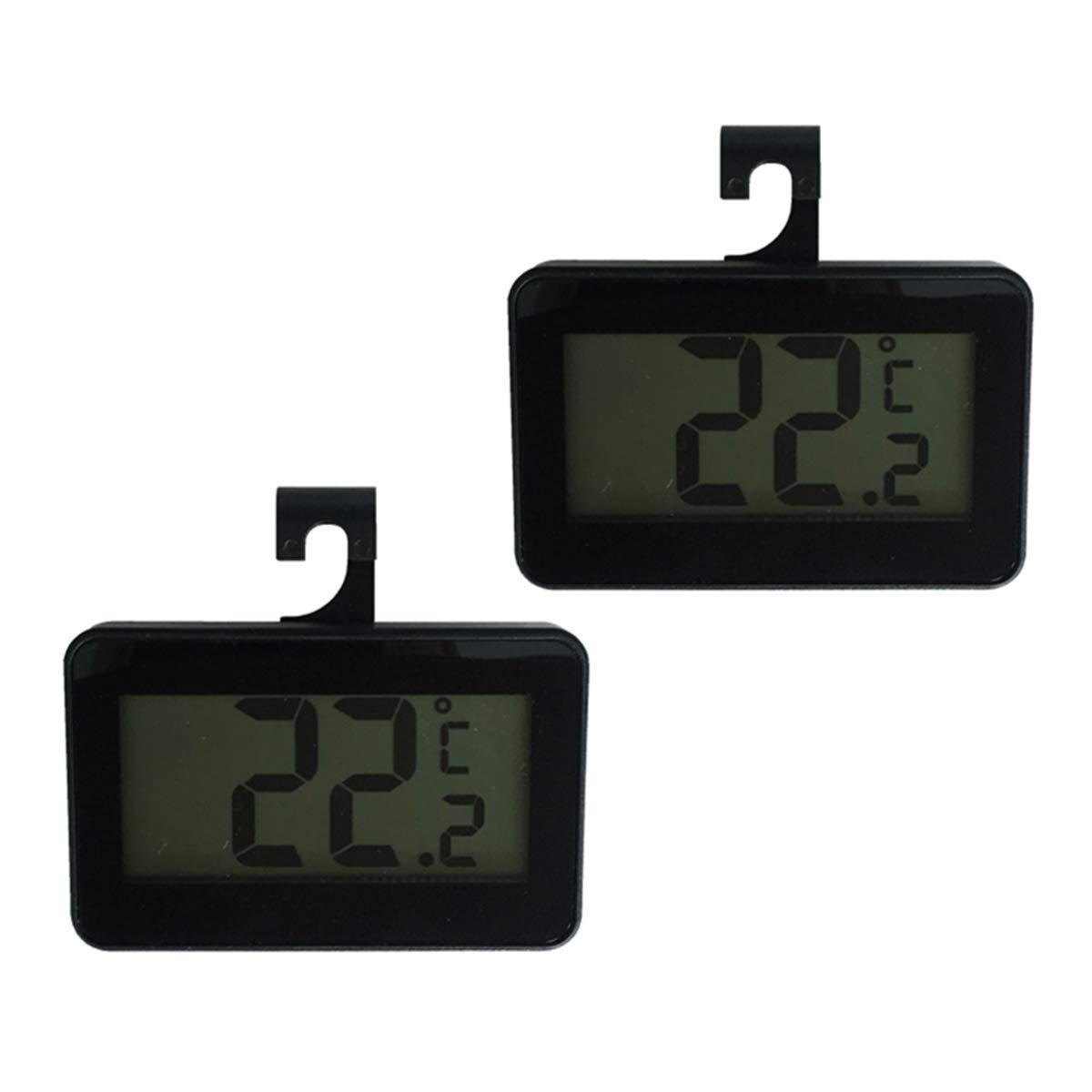 Refrigerator Thermometer 2 Pack, Wireless Small Digital Fridge Freezer Room Temperature Monitor from -20 to 60 ℃ with Large LCD Display, ℃/℉ Switch, Min/Max Record, Magnet Hook for Indoor Outdoor