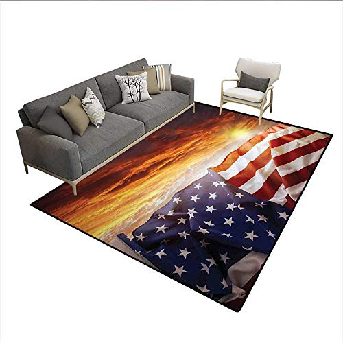 Floor Mat,Flag in Front of Sunset Sky with Horizon America Union Idyllic Photograph,Area Carpet,Multicolor -