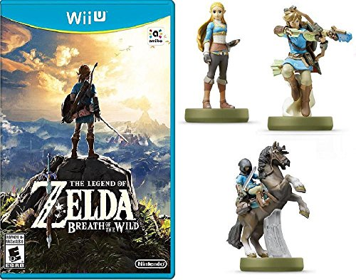 The Legend of Zelda: Breath of the Wild - Nintendo Wii U Bundle with Nintendo Amiibo Breath Of The Wild Figures: Zelda, Link Archer, And Link Rider by Nintendo