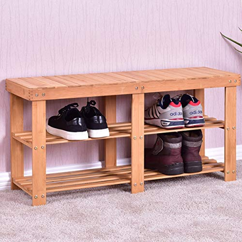 Entryway Bamboo Storage Shoe Rack Bench