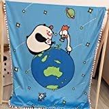 Pompons Cartoon Blankets Children Gifts - Plush Material Baby Room Decoration Blankets Car Covers 59 x 79 Inch Earth
