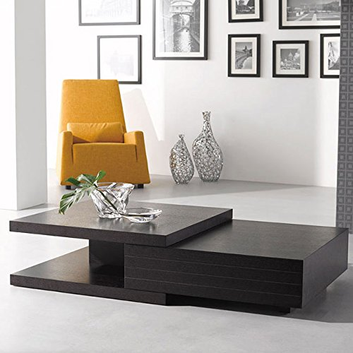 (J&M Chic Modern HK-19 Oak Wood With Wenge Veneer Finish Coffee Table)