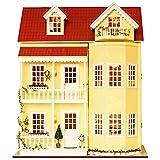 Ogrmar Wooden Dollhouse Miniatures DIY House Kit With Led Light-Fairy Tale Home
