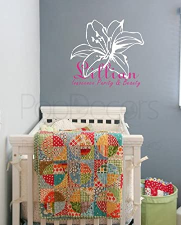PopDecors Wall Decals u0026 Stickers - Lily Flower with Personalized Girlu0027s Name - Monogram Girls Baby & Amazon.com: PopDecors Wall Decals u0026 Stickers - Lily Flower with ...