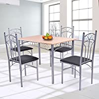 Giantex 5PCS Wood And Metal Dining Set Table and 4 Chairs Home Kitchen Modern Furniture