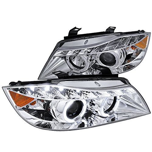 Spec-D Tuning 2LHP-E9005-8-TM Bmw E90 325 330 Chrome Clear Led Halo Projector Headlights