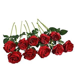FLLOJOYA Artificial Rose Flowers Fake Roses Silk Flowers Plastic Long Stem Silk Roses for Flower Arrangment DIY Home Wedding Decor(red Roses)