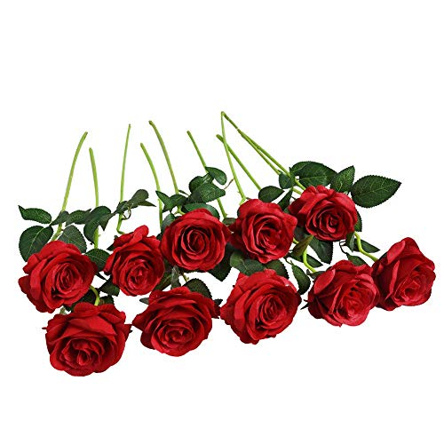 Artificial Flowers Roses Silk Flowers Fake Long Stem Red Artificial Roses for Wedding Home Decorations in Red 10pcs Rose Flowers Bouquet