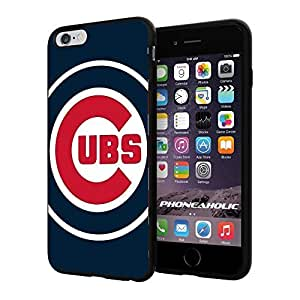 "MLB Chicago Cubs Baseball,Cool iPhone 6 Plus (6+ , 5.5"") Smartphone Case Cover Collector iphone TPU Rubber Case Black hjbrhga1544"
