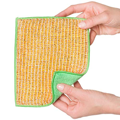 REDECKER Dual Sided Copper and Microfiber Cleaning Cloth, Set of 5, 7-3/4'' x 6'', Non-Abrasive Copper Effectively Scrubs, Absorbent Microfiber Wipes Surfaces Clean, Machine Washable, Made in Germany by REDECKER (Image #5)