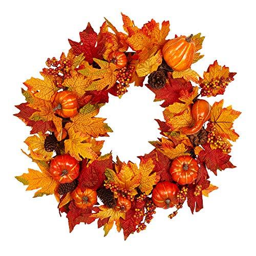 vest Silk Fall Front Door Wreath Autumn Wreath for Front Door, Autumn Maple Leaves Enhance Home Decor ()