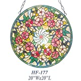 HF-177 20 Inch Rural Vintage Tiffany Style Stained Glass Church Art Sweet Flowers Round Window Hanging Glass Panel Suncatcher
