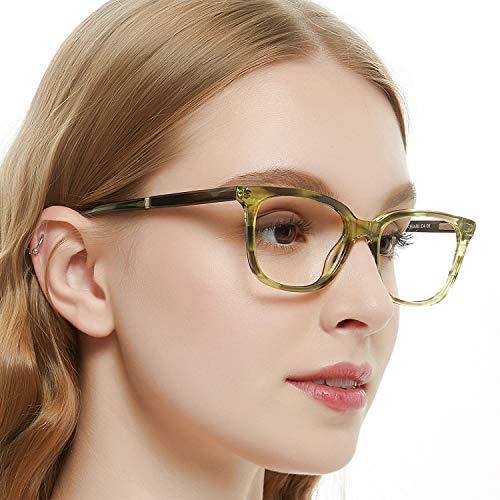 OCCI CHIARI Womens Rectangle Stylish Eyewear Frame Non-Prescription Clear Eyeglasses (B-Green Tortoise(new))